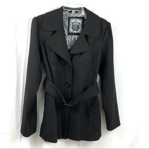 Vanity Black Wool Button Down and Buckle Belt XL